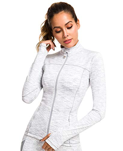QUEENIEKE Womens Sports Jacket Turtleneck Slim Fit Full-Zip Running Top Size M Color White Space Dye