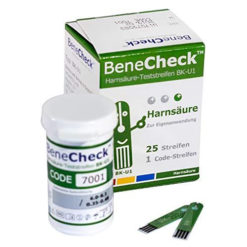 BeneCheck Harnsäure Teststreifen BK-U1-25 Stück pro Packung - Zur Verwendung mit dem BeneCheck Harnsäure-Messsystem