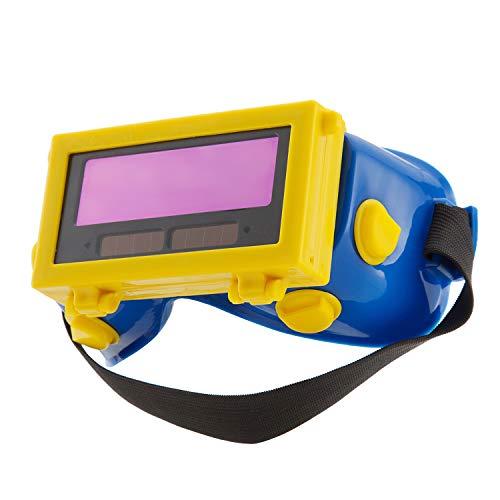 ENJOHOS Schweißerbrille Schutzbrille Augenschutz Vollsichtsbrille Schutz verstellbar Kopfband Schweiß-Zubehör Automatikschweißfilter LCD Schweiß Brille (Blau)