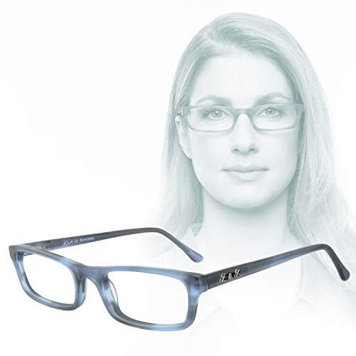 Edison & King Lesebrille Mr. & Mrs. King aus Acetat, mit Premium Gläsern entspiegelt und gehärtet (blau, 2,00 dpt)