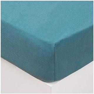 Atmosphera - Drap Housse en Coton lavé Bleu Canard 160 x 200 cm