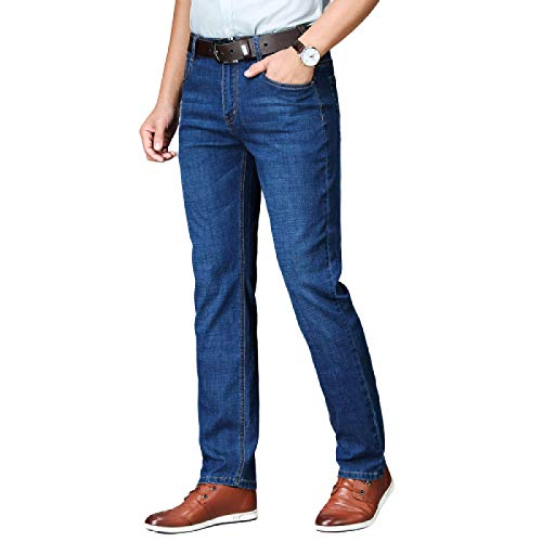 Pantalones Vaqueros para Hombre Pantalones Vaqueros elásticos de Pierna Recta Sueltos Finos de Verano Ropa Formal de Negocios Pantalones de Mezclilla Informal 36
