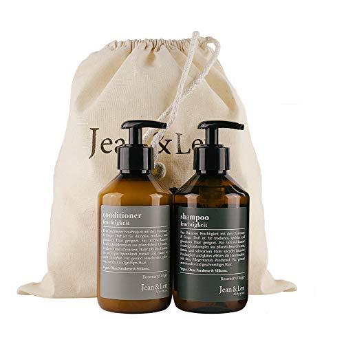 Jean & Len Jean & Len Haarpflege Set Feuchtigkeit Rosemary & Ginger, bestehend aus Shampoo, Conditioner, für trockenes, sprödes und glanzloses Haar