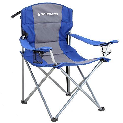 SONGMICS XL Campingstuhl, klappbar, mit gepolstertem Sitz, groß und komfortabel, Klappstuhl mit robustem Gestell, bis 150 kg belastbar, Outdoor Stuhl, blau GCB07BU, one Size