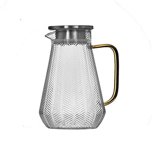 QIXIAOCYB Jarra de agua de 300/1500/1800 ml con filtro de acero inoxidable, resistente al calor, con asa, jarra de agua con tapa (color: 1500 ml)