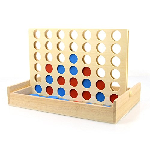 Wooden 4 in a Row Game, iRunning Foldable Board Line Up 4 Game,Classic Family Toy,Travel Board Game for Kids and Family