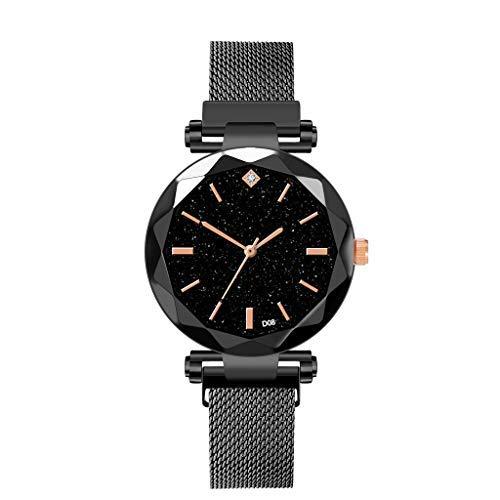 Tensay - Reloj de pulsera para mujer con diamante magnético y correa de malla con cielo estrellado, analógico, de cuarzo, de acero inoxidable, para mujeres y niñas, regalo para novia, Negro