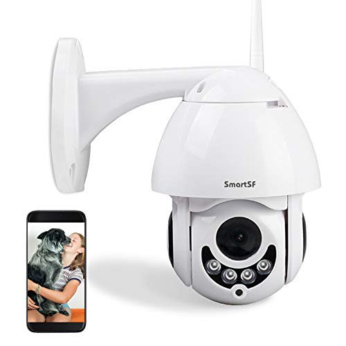 SmartSF Outdoor PTZ Camera WiFi IP Security Dome Camera 1080P Home Surveillance Camera for Baby/Elder/Pet/Nanny Monitor,Pan/Tilt,Two-Way Audio,Motion Detection & Night Vision (White)