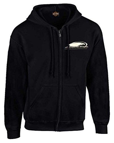 HARLEY-DAVIDSON Men's Screamin' Eagle Logo Hooded Zip-Up Sweatshirt, Black (M)