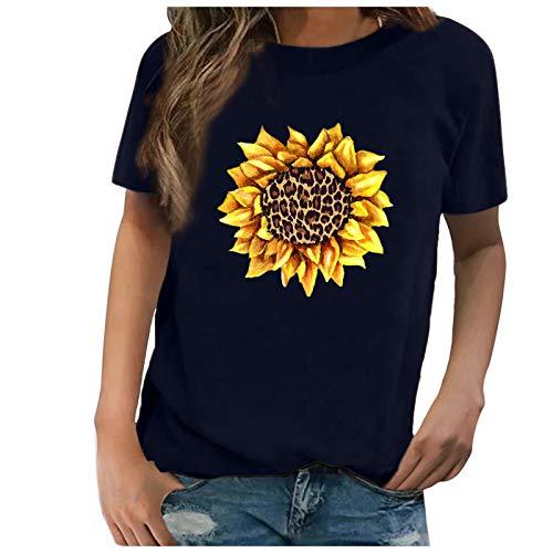 Camiseta de mujer de tallas grandes, suelta, con diseo de girasol/margaritas, elegante, manga corta, cuello redondo, para verano, tnica, azul marino A., XL