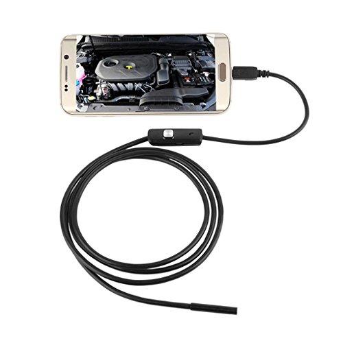 5,5mm Endoscopio Boroscopio Cámara Tubo de Inspección Impermeable para Android Teléfono con USB 6 LEDs 2m Largo