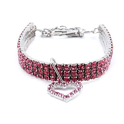 MoYouno Collar de Collar de Perro Brillante, Collar de Diamantes de imitación de Cristal de Gato para Mascotas con Collares elásticos Colgantes de corazón de Amor para Cachorros pequeños (Pink)