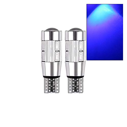 CHENTAOCS 2x W5W T10 LED Canbus No error 12V 6000K 5630 10 SMD Car 5W5 LED Bulb Clearance Wedge Side Turn Singal Light Super Bright White (Color : Blue)