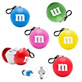 M&M's Poncho Ball Keychain Party Favors Bundle ~ 5 Pack'One Size Fits Most' Emergency Raincoat in Keychain Ball with Hook