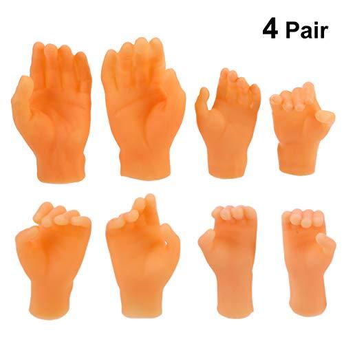 NUOBESTY 4 Paar Gummi Finger Hände Mini Puppen Spielzeug Kinder Gag Geschenk Urlaub Strumpf Stuffers
