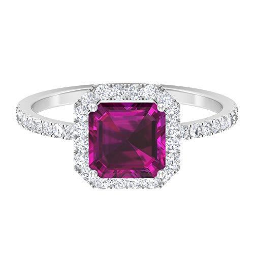 Anillo de corte Asscher, anillo de promesa solitario, piedras preciosas de 5,43 ct, D-VSSI Moissanite 7 mm, anillo de aguamarina, 14K Oro blanco, aguamarina, Size:US 70
