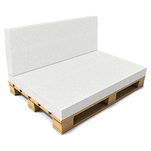 [neu.haus] Schaumstoff für Rücken 40 x 120 x 8cm Öko-Tex Standard Rückenpolster Palettenauflage Palettenkissen Polster Auflage Weiß