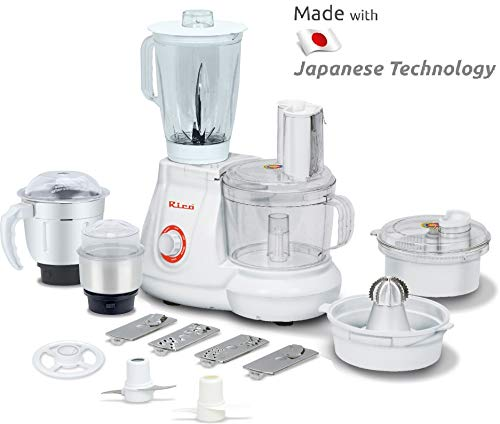 Rico All in One Food Processor with Coconut Scraper, Juicer, Blender Jar, Unbreakable Bowl, 3 Flow Breaker Jars (White, 700 Watt) I Made in India