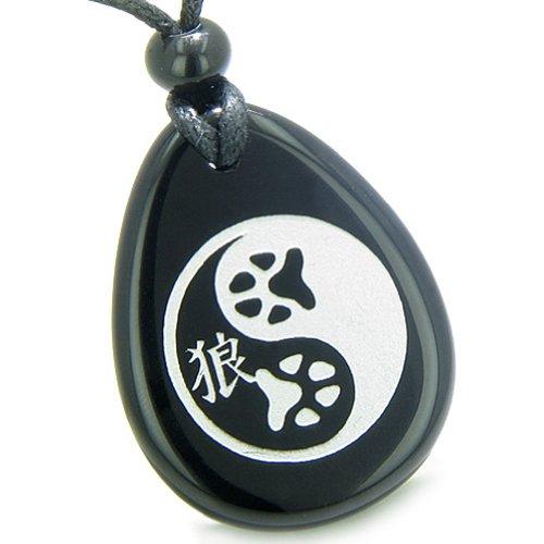 BestAmulets Amulet Wolf Paw Yin Yang Magic Kanji Spiritual Balance Power Black Agate Pendant Necklace