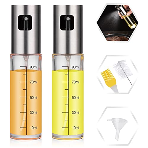 Oil Sprayer for Cooking, Kmeivol 2 Pack Olive Oil Sprayer, Food Grade Glass Olive Oil Spray, Oil Sprayer with Measurements Together with Brush Funnel, Oil Mister for BBQ, Baking, Roasting, Salad