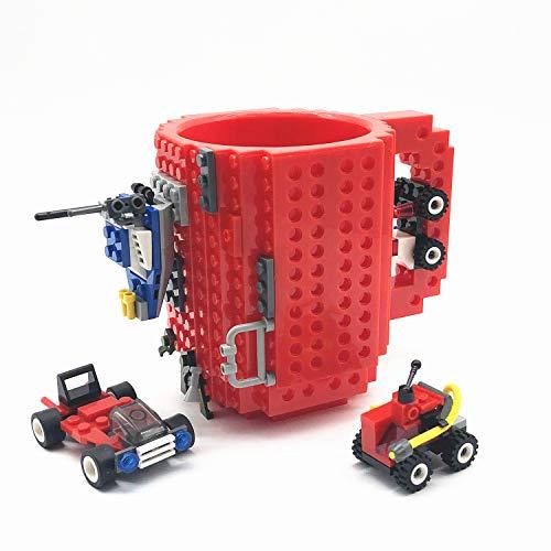 VANUODA Build Tasse Brick Mug Becher,Ostern Vatertag Geburtstag Einschulung Weihnachtengeschenk Idee,Personalisierte Geschenk für Männer Frauen Mama Kinder Papa Junge,Kompatibel für Lego (Rot)