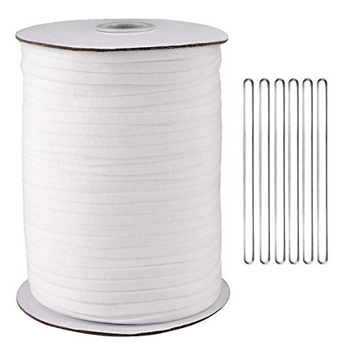 1//8 Inch 3 mm White Elastic Bands Cord Stretch Width Braided Crafts Elastic Rope for Knit Sewing Crafts DIY Ear Band Loop for Mask Handmade Mask Elastic Line with Free Tape Rule 100M