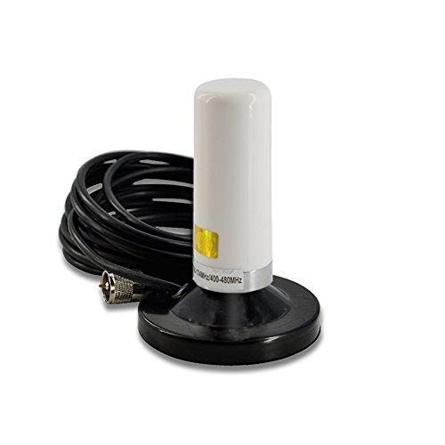 Antenna Veicolare EasyTalk N2 Duoband VHF UHF 2 m 70 cm Antenne Radio Corta con Base Magnetica RG-58 U Cavo Coassiale per Auto Ricetrasmettitore TYT TH-9800 Wouxun KG-UV950p KG-UV920R QYT, Bianco