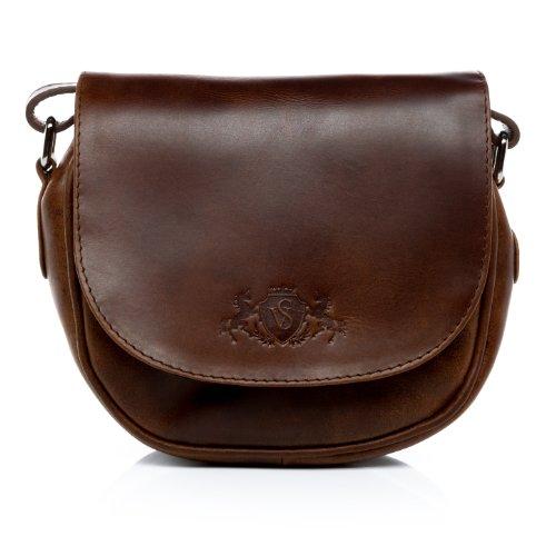 SID & VAIN Umhängetasche echt Leder Brighton klein Crossbody Bag Schultertasche Ledertasche Damen braun