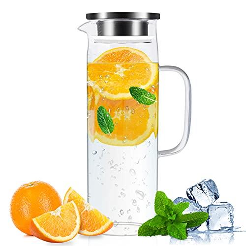Jarra de cristal, con cepillo de vaso, 1,6 L, resistente al calor y al frío, con tapa de acero inoxidable, apto para agua caliente y fría, café y zumo