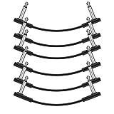 donner - cavo patch piatto per pedale effetto chitarra, 15 cm, confezione da 6 pezzi, colore: nero