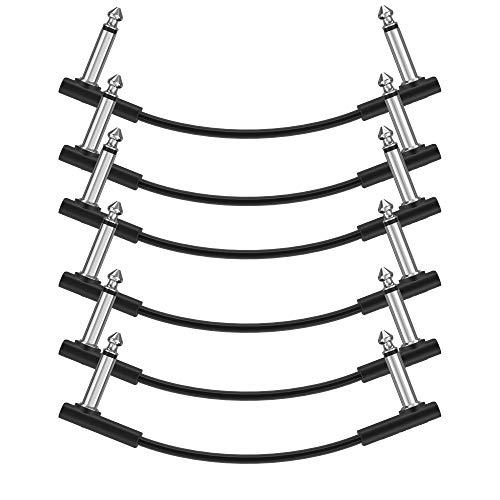 Donner Cable Patch para Guitarra 15cm, Cable Plano de 6.35mm para Pedalera Patch Instrumento Patch Alambrepara Pedales de Efectos Guitarra/Bajo (Pack de 6, Negro)