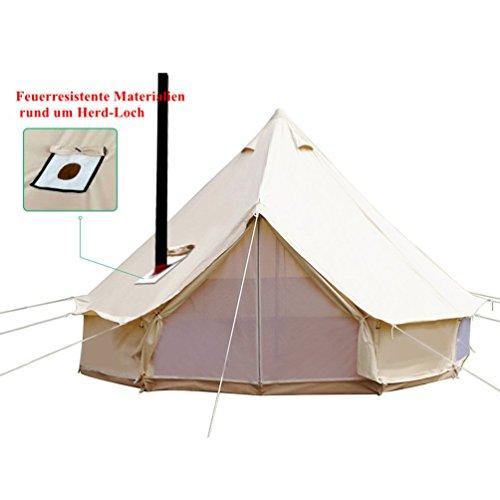 Sport Tent-Wasserdicht Schimmelresistent Tipi Zelt (Teepee) Indianerzelt 4-6M Baumwolle große Familie Jagd Camp Zelt mit Kamin Mund Rundzelt für Urlaube Feste Feiern Hochzeit (Durchmesser 6 M)