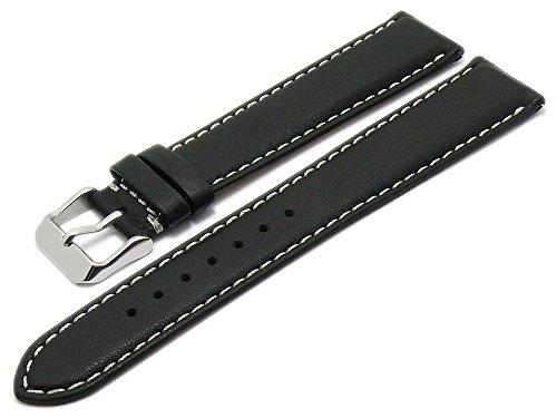 Meyhofer EASY-CLICK Uhrenarmband XL Mosel 22mm schwarz Leder genarbt helle Naht My2gfml4005