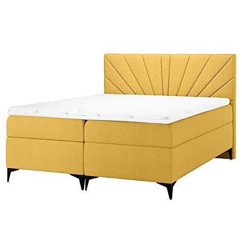 Selsey Tomene - Boxspringbett, Doppelbett mit Winkelfüßen, Taschenfederkernmatratzen, Topper und Bettkasten (140 x 200 cm, Gelb)