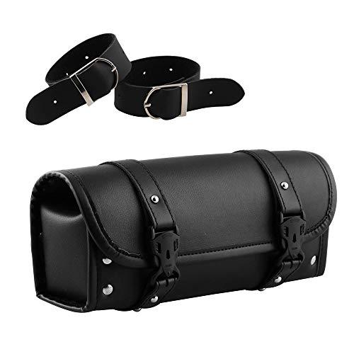PU Leder Motorrad Lenker Tasche Multifunktionale Schwarze strapazierfähige Leder Toolkit Tasche mit 2 Riemen