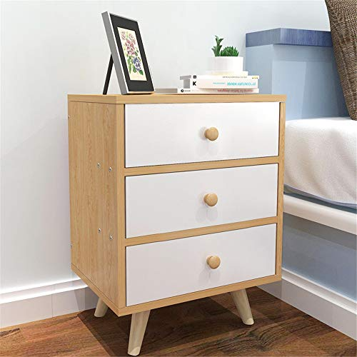 EVFIT Bedside Table Nightstands 3 Drawer Bedside End Table Storage Tower Bedroom Nightstand Wood Cabinet Open Shelf Perfect for Any Bedroom (Color : A, Size : 40x30x52cm)