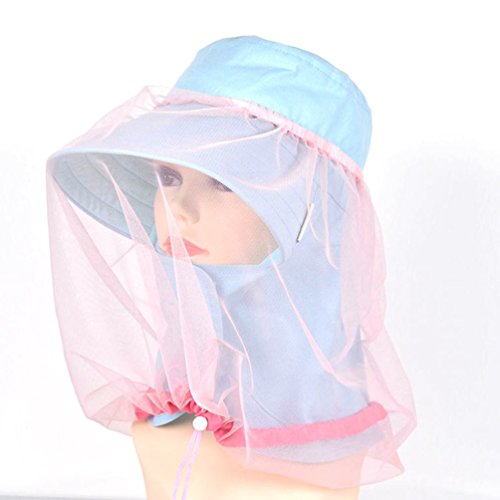 Wandrola Mosquito Head Net for Kids, Protection from Insect Bug Bee Gnats, Downy Catkins and Dandelions in The Air (Pink)