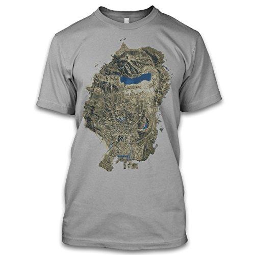 net-shirts The Map T-Shirt GTA inspired by GTA Funshirt Fanshirt , Größe XL, Graumeliert