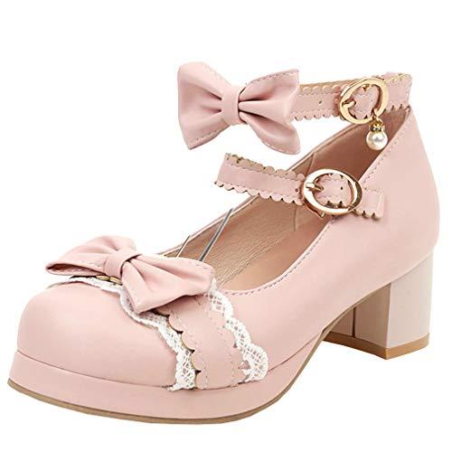 Femany Damen Cosplay Lolita Schuhe Blockabsatz Pumps mit Riemchen und Schleife Rockabilly Schuhe (Pink,37)