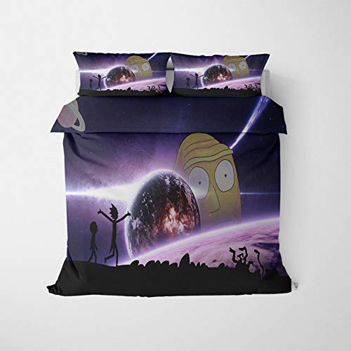 MMYANG 3D Rick and Morty Bedding Set for Children, Duvet Cover and Pillowcase 100% Polyester, 3D Digital Print, with Zip Closure (19.200 x 200 cm)