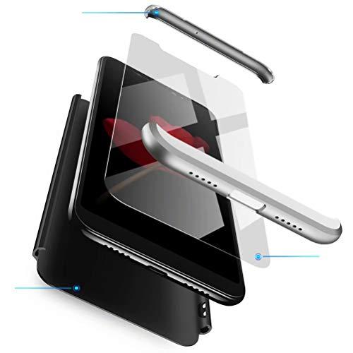 Azihone Funda Compatible Xiaomi Redmi Note 5/5Pro con 360°Todo Incluido Anti-Scratch, 3 en 1 Hard PC Caja Cover Resistente al Desgaste+Regalar 2*HD Vidrio Templado Carcasa Case-Plata Negro