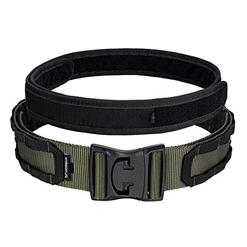 IDOGEAR 2'' Tactical MOLLE Battle Belt Quick Release Heavy Duty Rigger Belts with Inner Belt and Outer Belts Set For Men