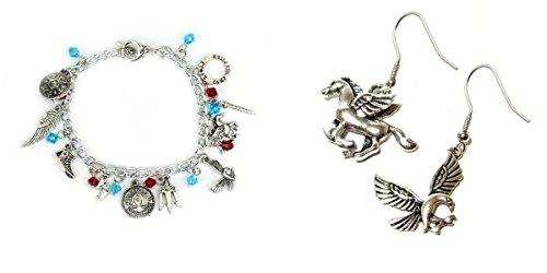 2 Pack Percy Jackson Earrings & Bracelet w/gift box from Outlander