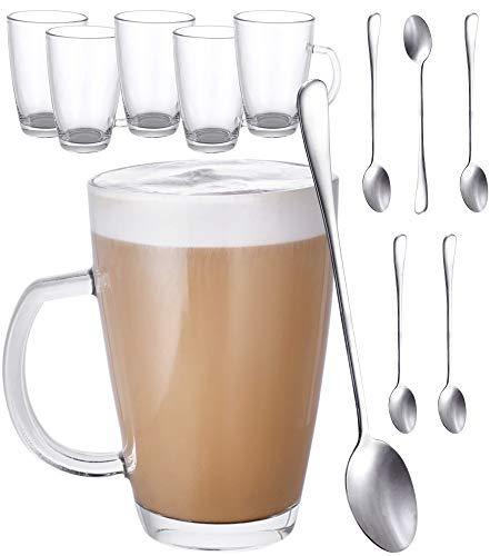 6er Latte Macchiato Gläser Set mit Henkel und Löffel - 300ml - Hält lange warm