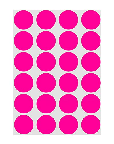 ChromaLabel 3/4 Inch Round Permanent Color-Code Dot Stickers, 1008 Pack, 24 Labels per Sheet, Fluorescent Pink