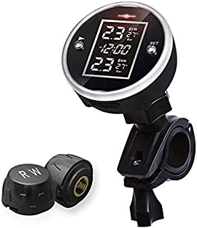 Wireless Motorcycle Tire Pressure Alarm Monitor System TPMS LCD Display Motor 2 External Sensor Temperature Alarm