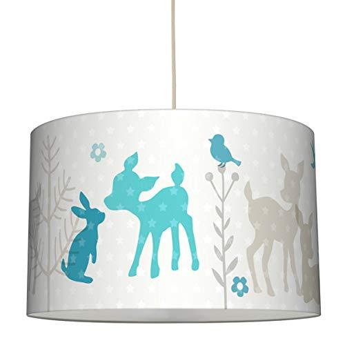 lovely label Hängelampe HÄSCHEN & REHE TÜRKIS/GRAU/BEIGE – Lampenschirm für Kinder/Baby, Schirm mit Rehkitz, Hasen und Sternen – Komplette Hängeleuchte für Kinderzimmer Mädchen & Junge