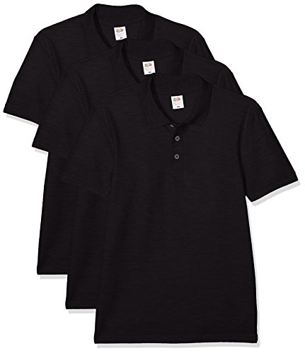 Fruit of the Loom Herren 65/35 Polohemd, Schwarz, XXL (3er Pack)