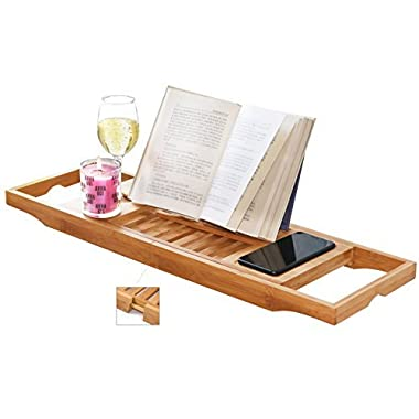 DOZYANT Bamboo Bathtub Caddy Tray Bathtub Rack, One or Two Person Bath Tray with Extending Sides for Towel Book Glass
