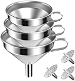 3 Pieces Set Large Stainless Steel Funnels for Kitchen, with...
